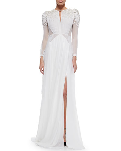 Sequined Sheer-Inset Dress, White