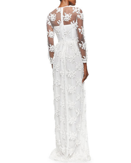 Embroidered Flower Lace Dress White