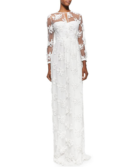 Burberry ProrsumEmbroidered Flower Lace Dress, White