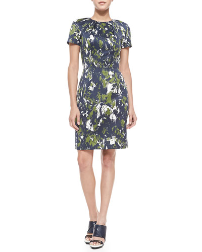 Short-Sleeve Abstract-Print Sheath Dress