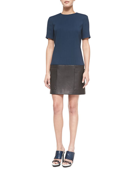 Jason Wu Short-Sleeve Crepe/Leather Tunic Dress