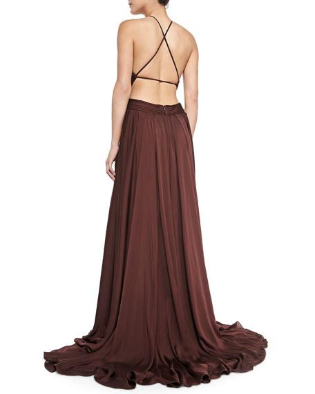 Chiffon Parachute Halter Gown