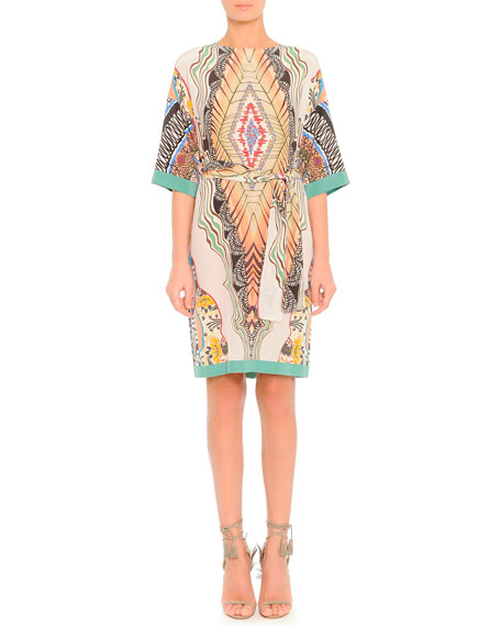 Feather-Print Silk Dress with Belt