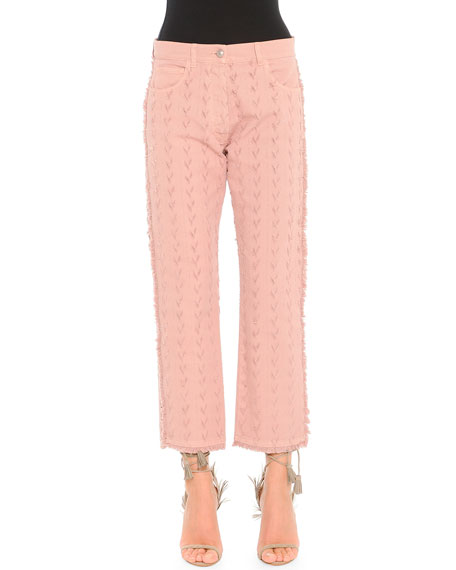 Etro Arrow-Cut Fringed-Edge Jeans, Pink