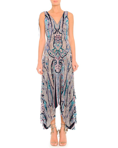 Etro Silky Devore V-Neck Dress with Ruched Waist