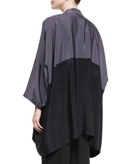 Open-Front Colorblock Silk Jacket