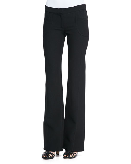 Derek Lam Flare-Leg Front-Pocket Trousers, Black