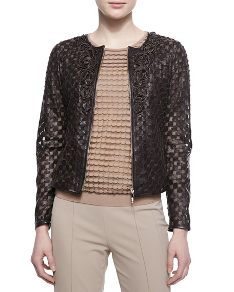 Escada Rosette-Detailed Laser-Cut Leather Jacket, Dark Brown