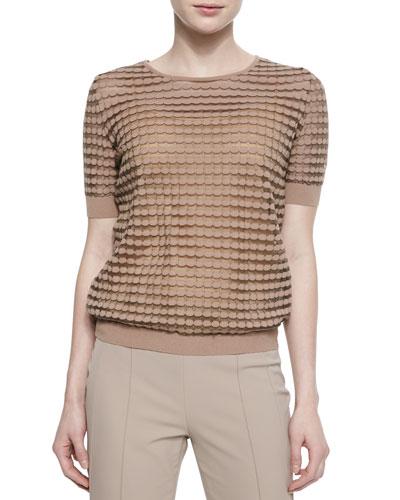 Dot-Striped Mesh T-Shirt, Pampas