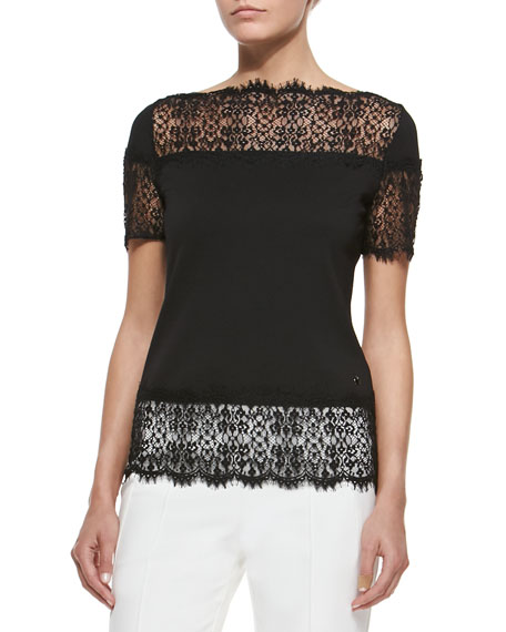Fringed Lace-Trimmed T-Shirt, Black