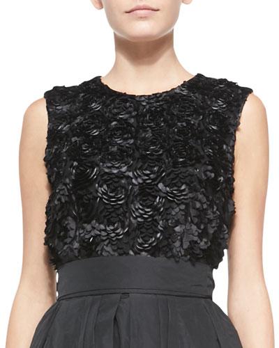 Rosette-Embroidered Sleeveless Top, Black