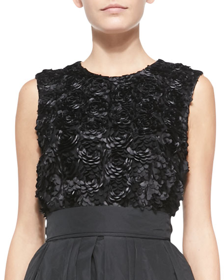 Escada Rosette-Embroidered Sleeveless Top, Black