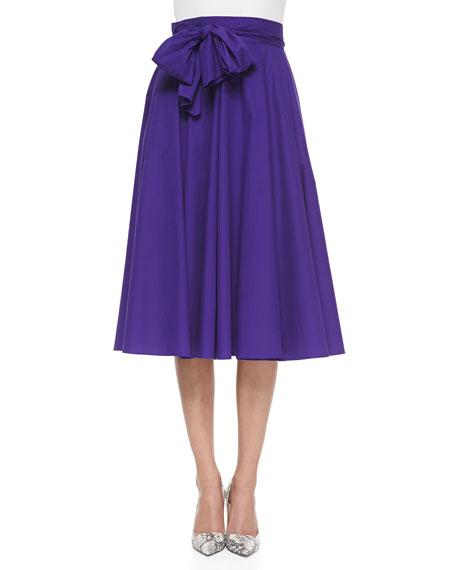 Bow-Detailed Circle Midi Skirt, Crocus