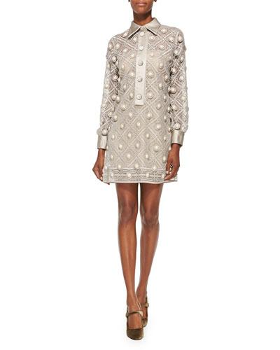 Button-Embroidered Chiffon Dress, Putty