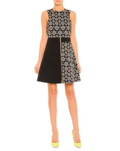 Colorblock Circle-Print Zip Dress, Black