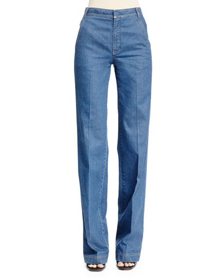 Stella McCartney High-Waist Flare-Leg Denim Pants