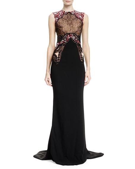 Stella McCartney Mixed-Print Mermaid Gown, Black/White