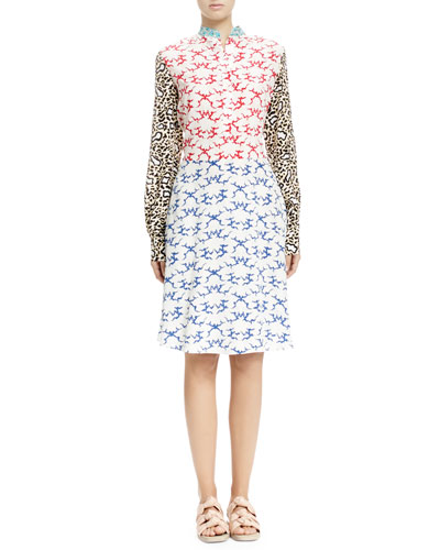Stella McCartney Mixed-Print Henley Dress, White Ocean