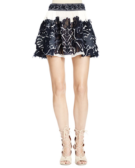 Chloe Folkloric Patched Lace Skirt, Navy/White (Runway Version)