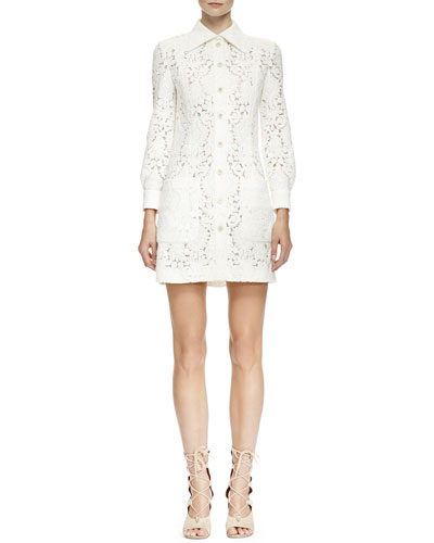 Long-Sleeve Guipure Lace Shirtdress, Milk