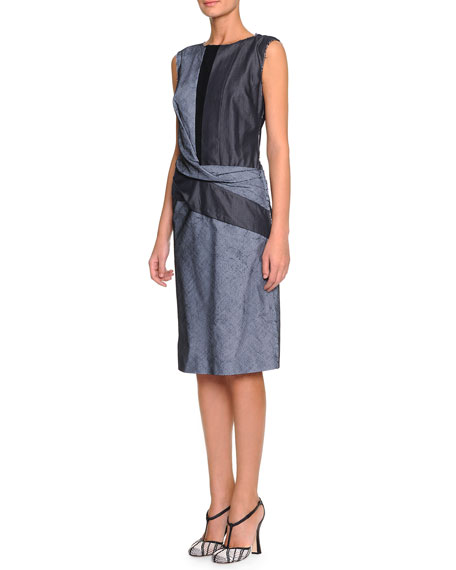 Bottega Veneta Striped Pique Denim Combo Dress