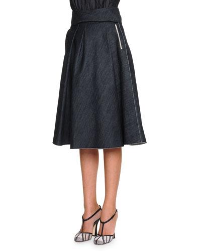 Full A-Line Denim Skirt, Dark Navy