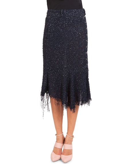 Sequined Tweed Side-Button Skirt W/ Fringe Hem
