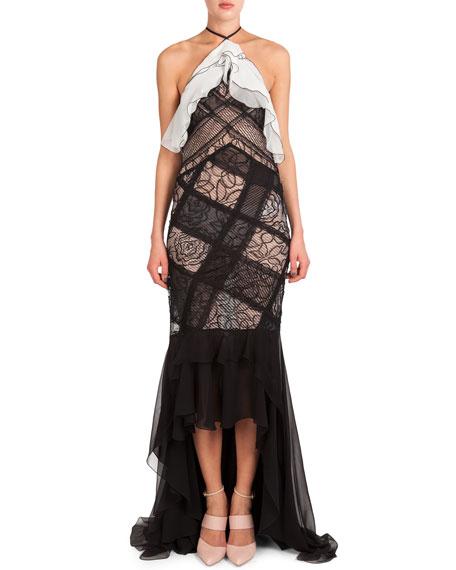 Nina Ricci Flounce-Neck Lace Halter Gown