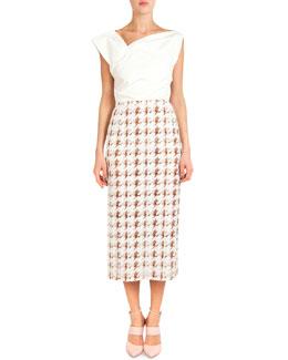 Asymmetric-Neck Dress W/ Printed Skirt
