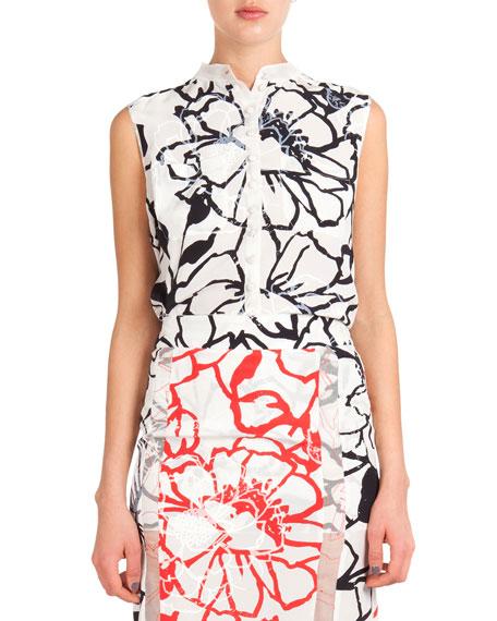 Nina Ricci Sleeveless Button-Down Floral Blouse