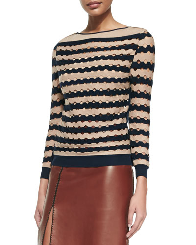 Cotton/Cashmere Laser-Cut Wave Striped Sweater