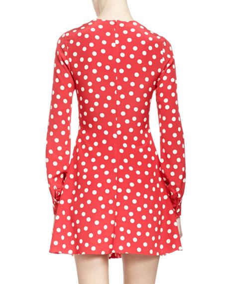 Long-Sleeve V Neck Polka Dot Dress