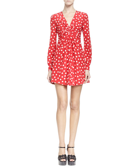 Saint Laurent Long-Sleeve V Neck Polka Dot Dress