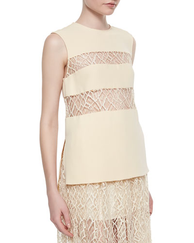 Sleeveless Lace-Inset Top