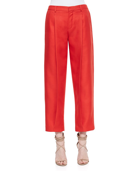 Adam Lippes Front-Pleat Tapered Cropped Pants