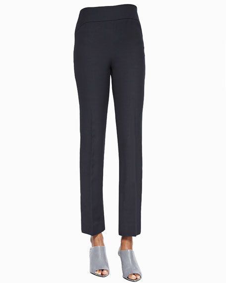 Narciso Rodriguez Flat-Front Slim Pants, Lava
