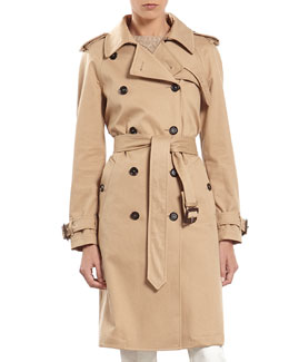 Gabardine Trench Coat with Contrast Lining
