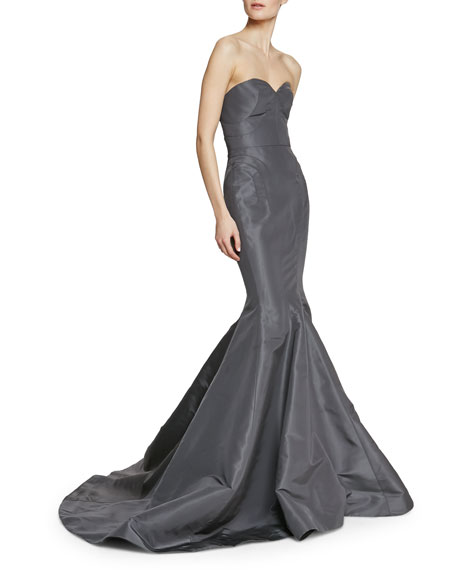 Strapless Seamed Trumpet Gown in Silk