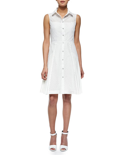 Side-Pleated Mesh Shirtdress, White