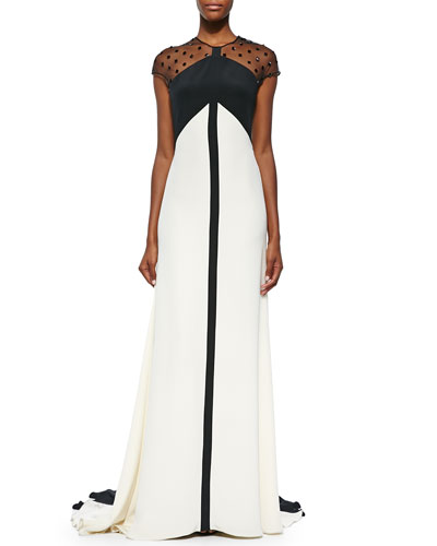 Beaded Sheer-Back Colorblock Gown, Black/Ivory