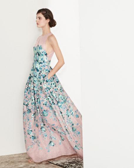 Keyhole Cutout-Back Floral Jacquard Gown, Blush/Blue