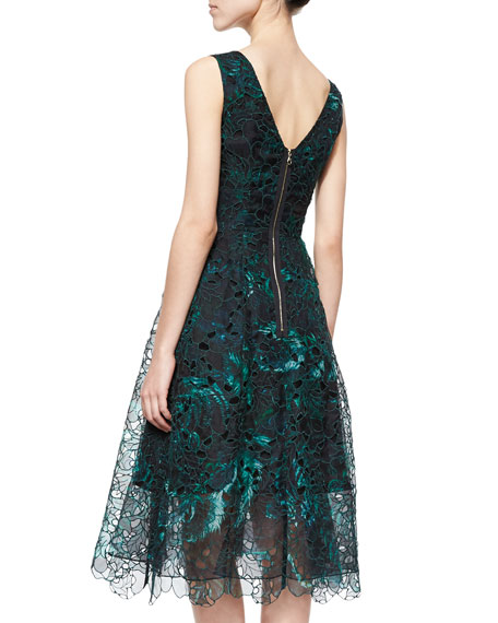 Feather-Print Lace Overlay Dress