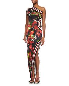 Jean Paul Gaultier One-Shoulder Cherry Butterfly-Print Dress, Black/Red