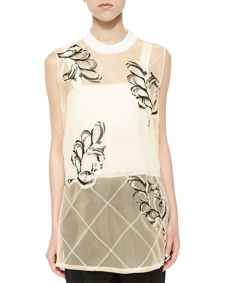 3.1 Phillip Lim Lattice Plume-Print Sheer Tank, Whisper