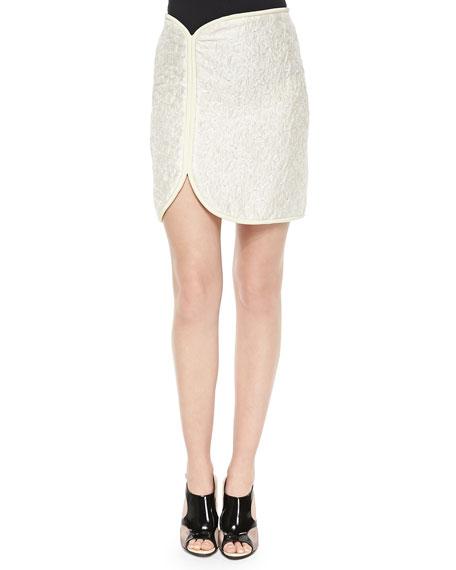 3.1 Phillip Lim Cord-Framed Crinkled Satin Skirt, Ivory/Cream