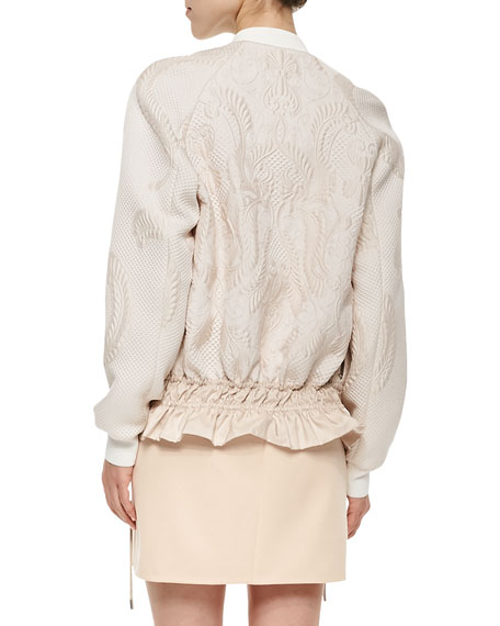 Scroll-Pattern Cloque Bomber Jacket, Powder