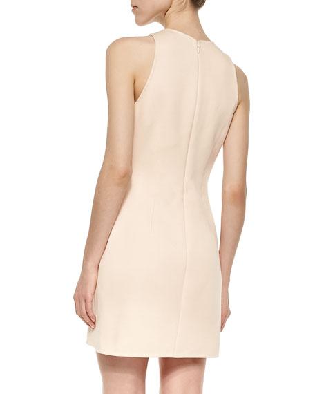 Sleeveless Contoured Scuba Dress, Whisper Pink
