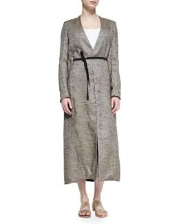 Vantin Shantung Long Coat, Oak Melange