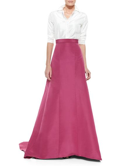 Silk Faille Pleated-Back Ball Skirt, Dark Pink