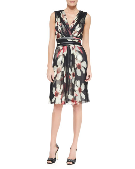 Carolina Herrera Magnolia-Print Sash-Waist Silk Dress